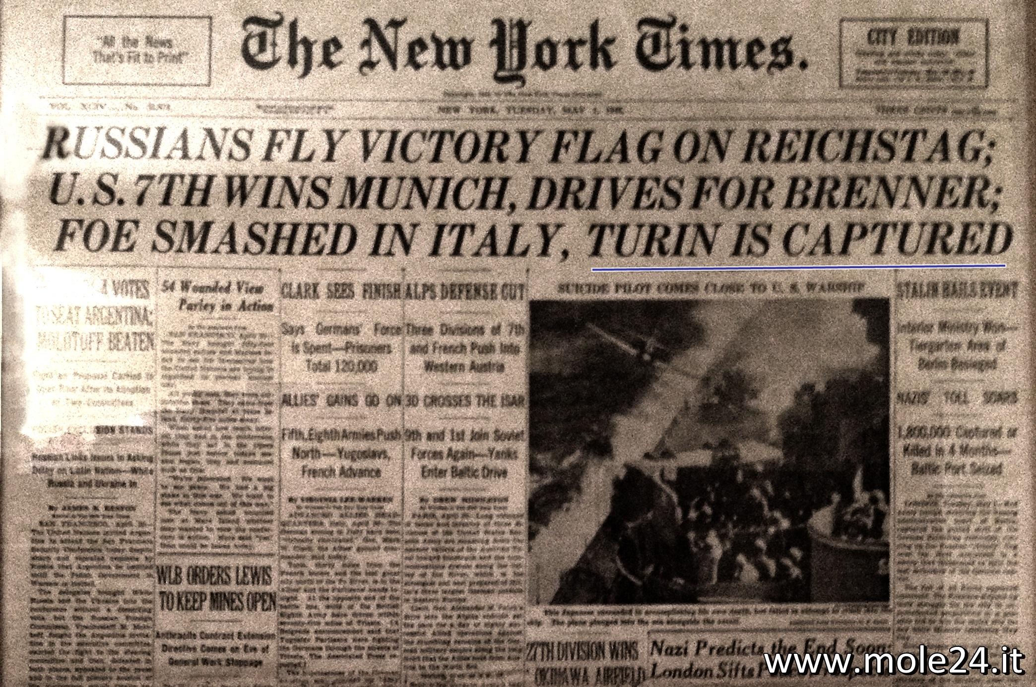 1/5/1945: quando il New York Times pubblico' la caduta di Torino in prima pagina