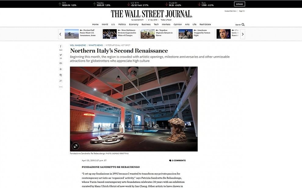 "Wall Street Journal: il ""rinascimento"" dell'Italia passa da Torino"