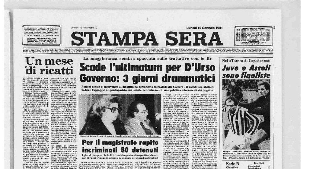 Prima pagina Stampa Sera gennaio 1981 [archivio storico La Stampa]