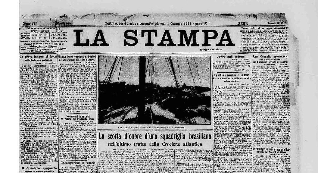 Prima pagina Stampa Sera 1930 [fonte archivio storico La Stampa]