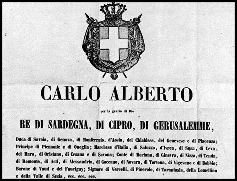 Torino 4 Marzo 1848: emanato lo Statuto Albertino