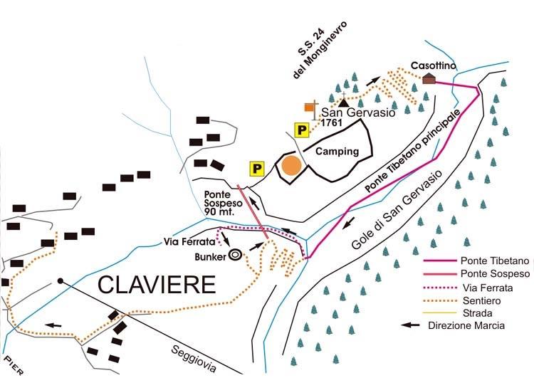 Mappa ponte tibetano e ferrate